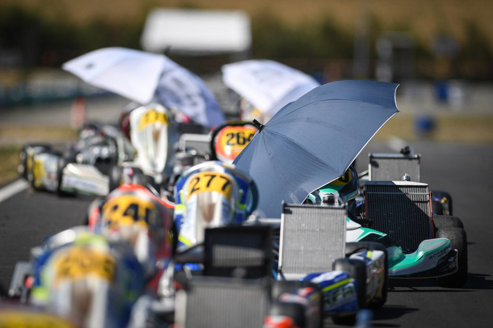 Umbrella's protect engines from the harsh sun