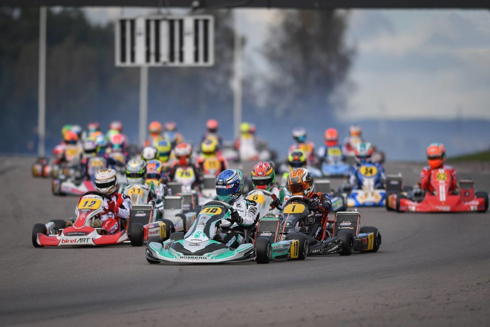 Opening corner of the OK category at the 2018 FIA Karting World Championship in Kristianstad, Sweden