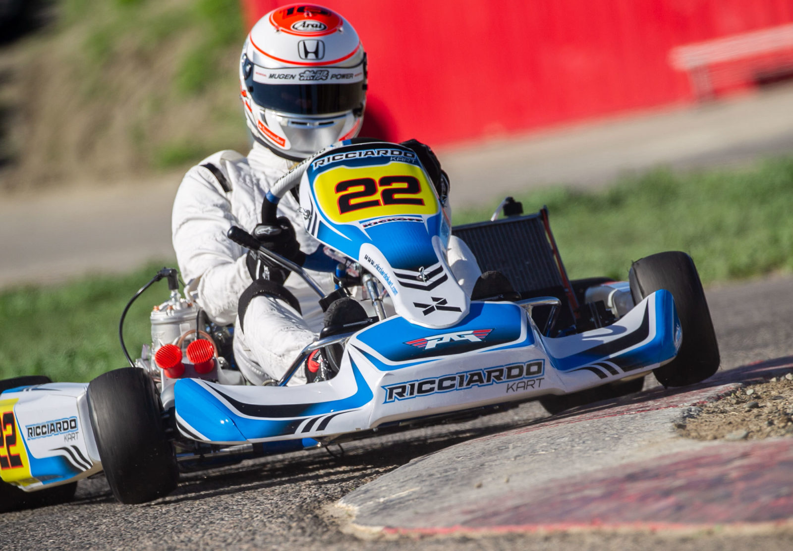 Jenson Button driving ROK Shifter on a Ricciardo Kart