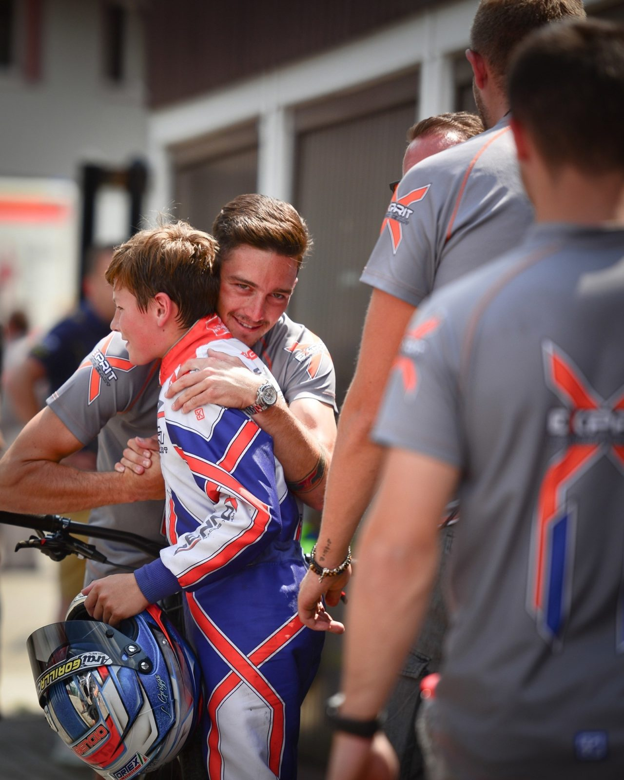 Jordon Lennox hugs his team driver