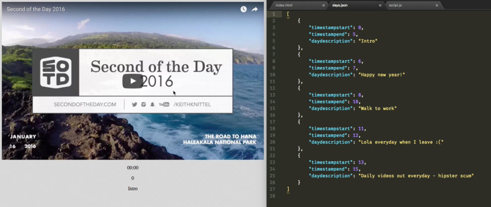 Second of the Day 2017 Proof of Concept using YouTube & Fetch API Banner Image