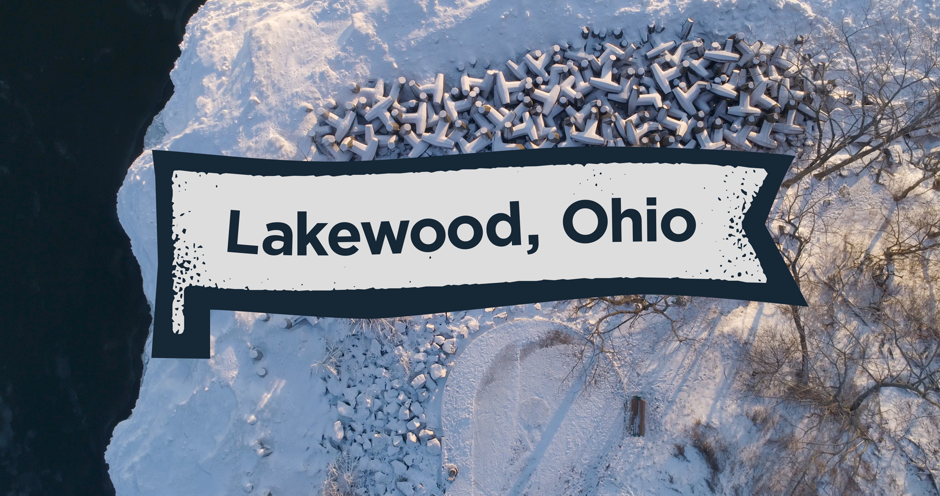 Lakewood, Ohio: Flying over Lakewood Park in the winter