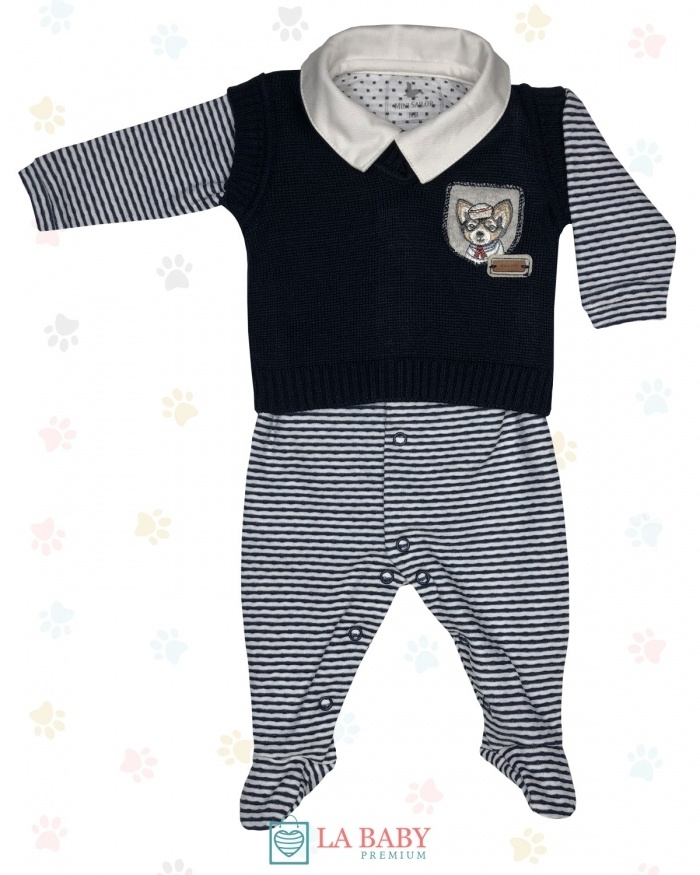 MACACAO C/ COLETE TRICOT/COTTON DOG NAVY [23044877]