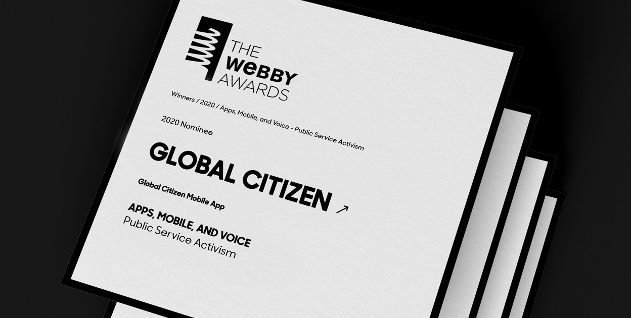Global Citizen App receives 2020 Webby Award Nomination