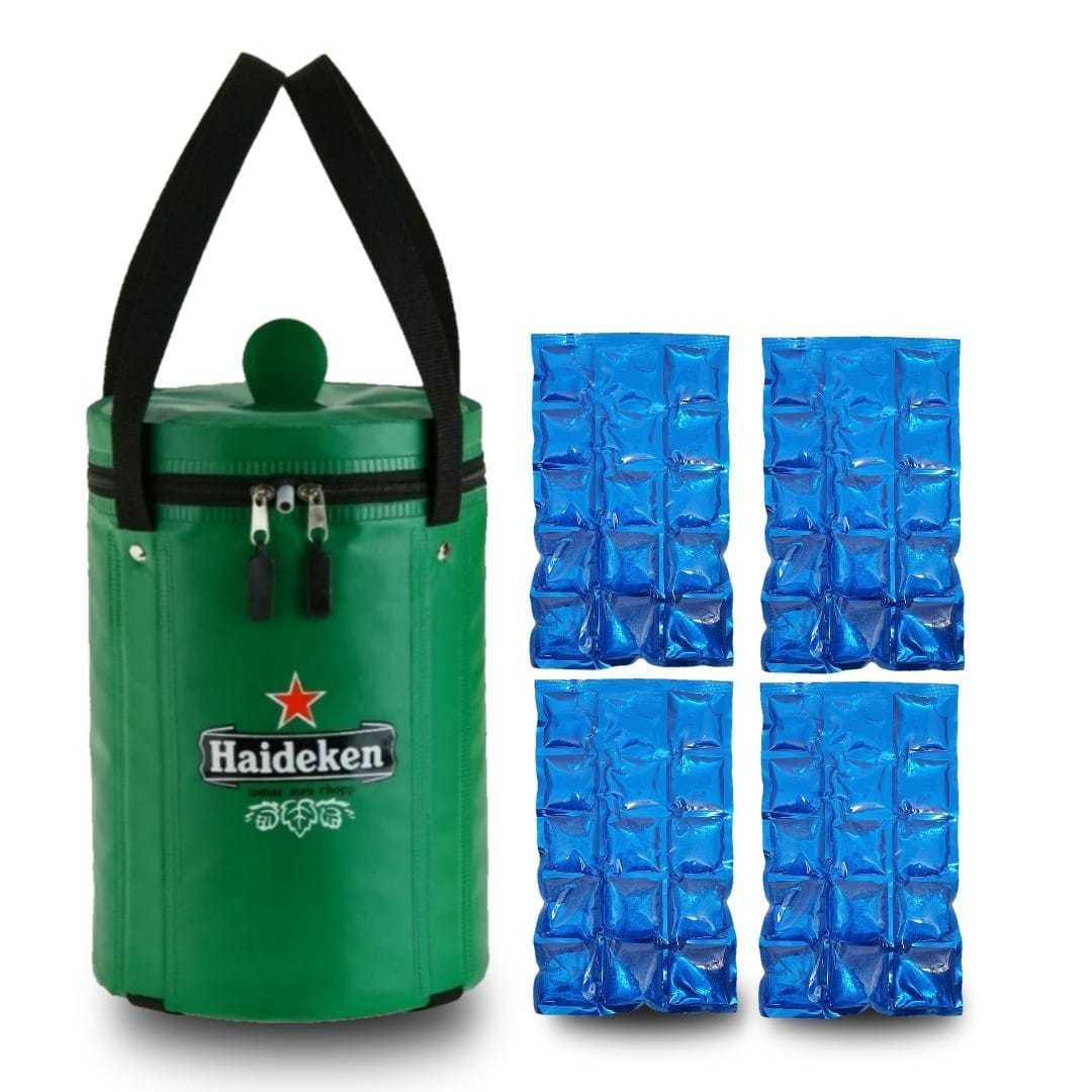Bolsa térmica Haideken para barril de chopp Heineken 5 litros + 4 Cartelas Gelo Gel