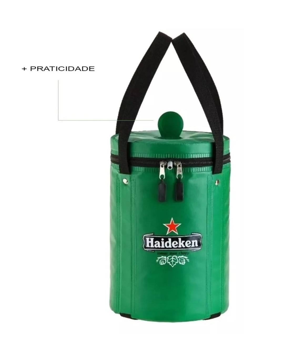 Bolsa térmica Haideken para barril de chopp Heineken 5 litros