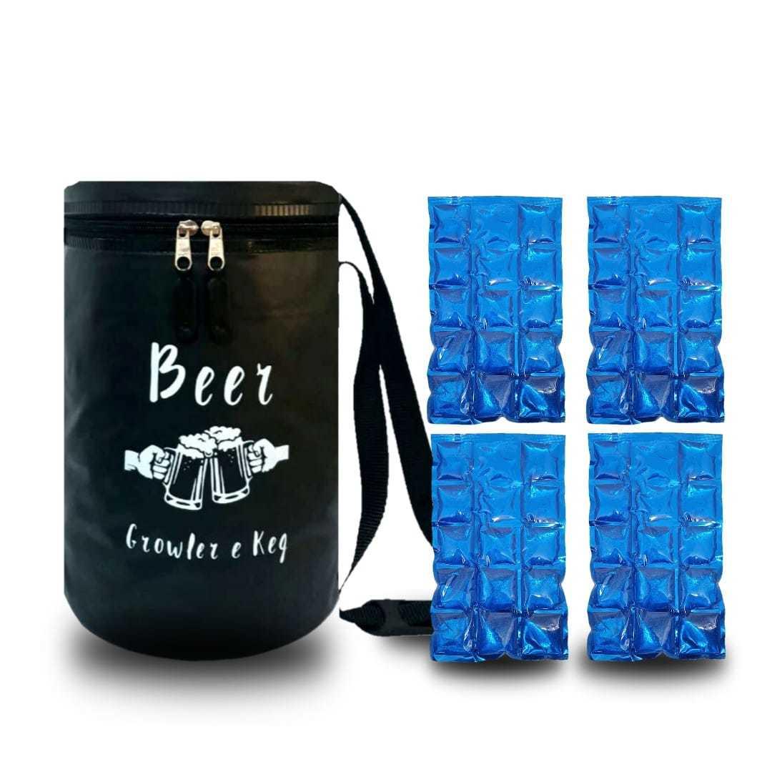 Bolsa Térmica Para Barril Keg E Growler 5 Litros + 4 Cartelas Gelo Gel