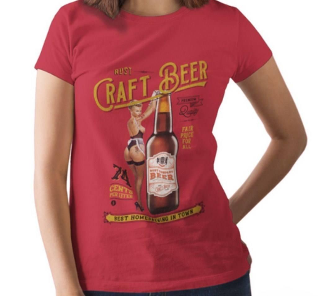 Camiseta RUST Cerveja Artesanal Pin-up - Vermelha