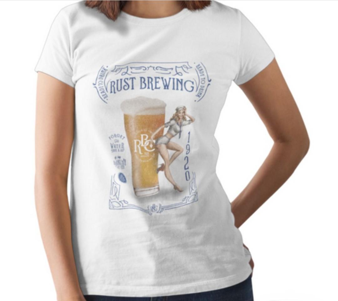 Camiseta RUST Cerveja Pin-up - Branca