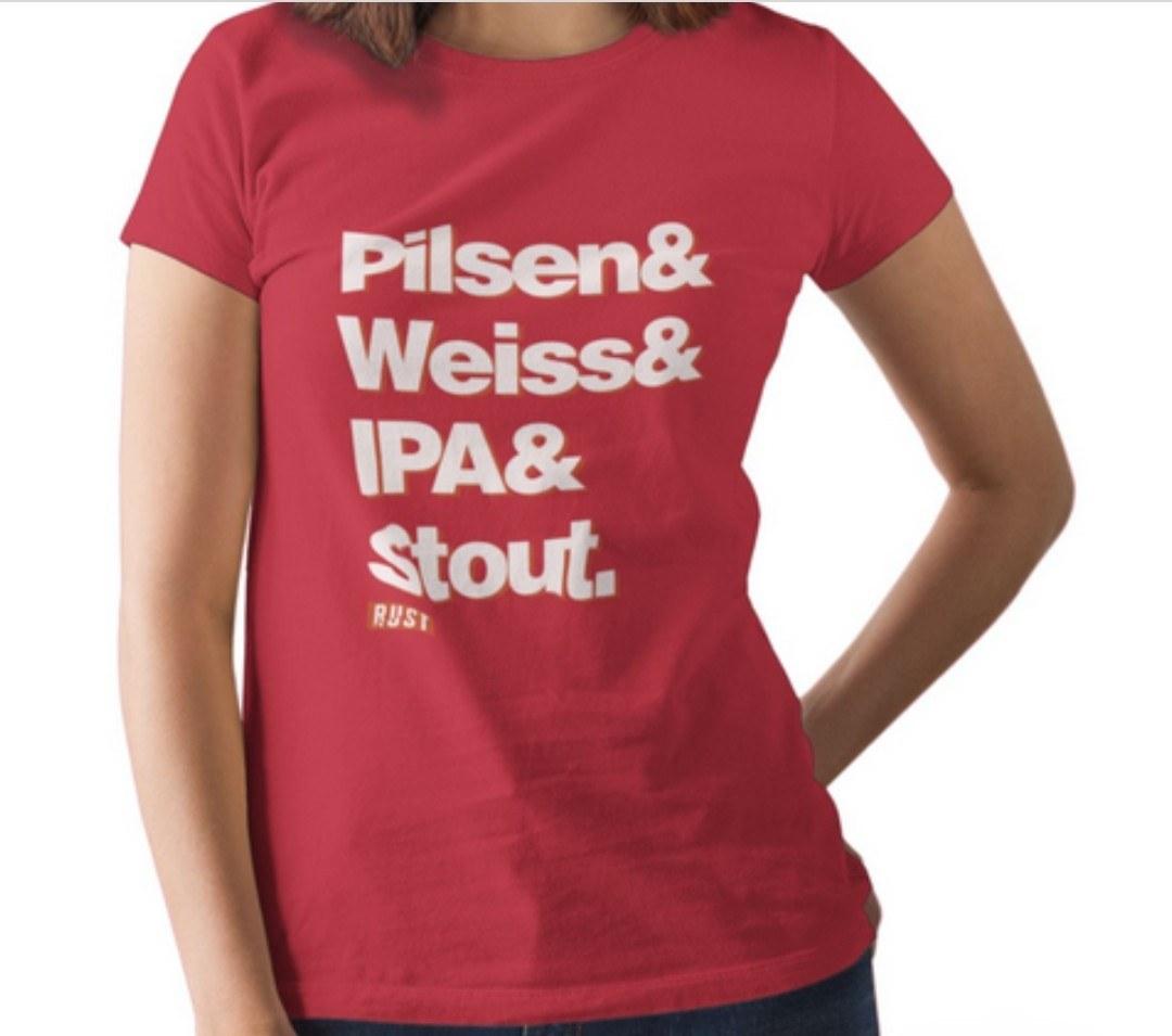 Camiseta RUST Estilos Cervejas - Vermelha