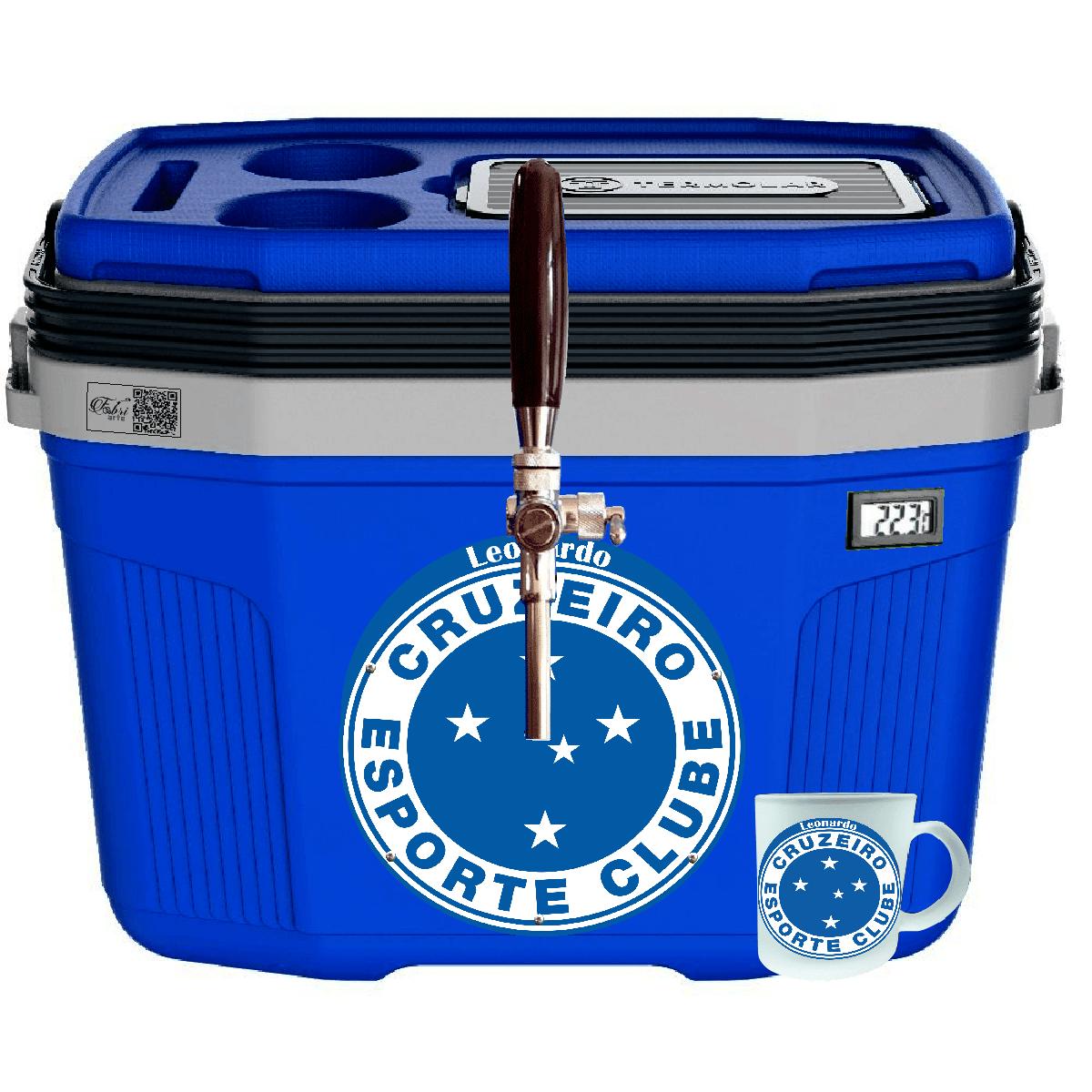 Chopeira Portátil a Gelo GH2-32L Azul Personalizada Times Futebol + Caneca Personalizada