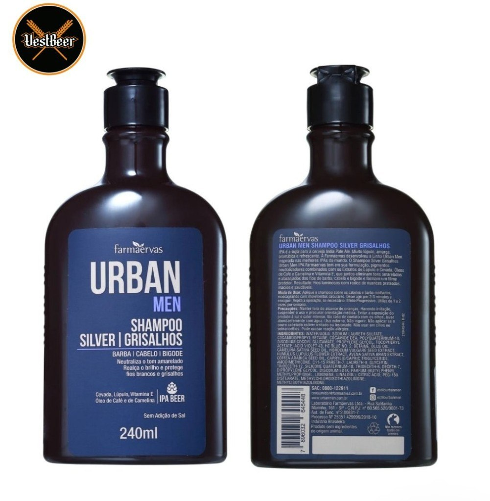 Urban Silver Grisalhos Shampoo Desamarelador IPA Beer 240ml VestBeer