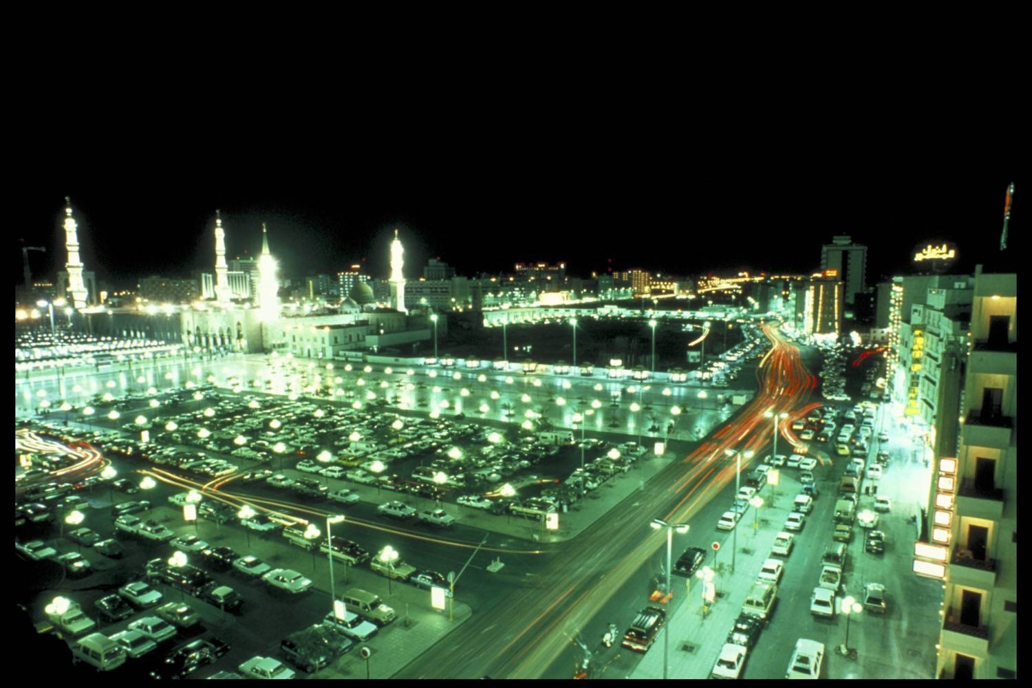 Medina View Of The City At Night The Mosque At The Right Archnet