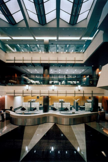 Isbank Headquarters Interior Design Three Story Atrium Of Branch Bank Serpentine Information Counter Luminous Accordion Shaped Ceiling Archnet