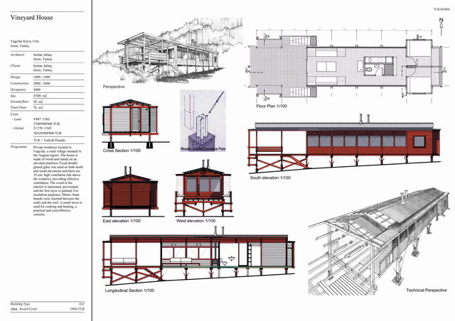 Presentation Panel With Floor Plan Elevation Section And Perspective Drawings And Detail Drawing Of Wooden Column Connection Joint Archnet