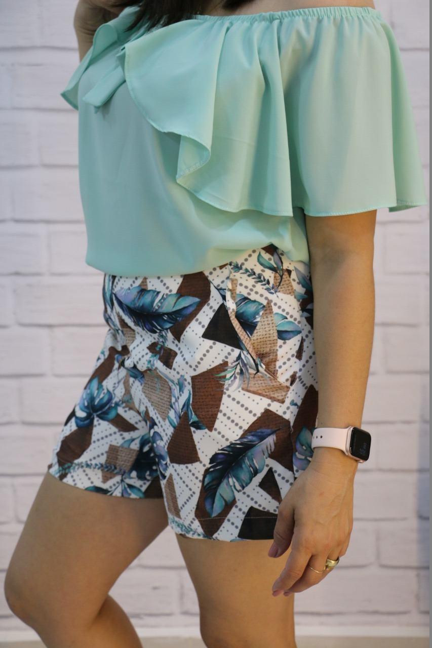 Bermuda Alfaiataria Estampada Charme de Costura