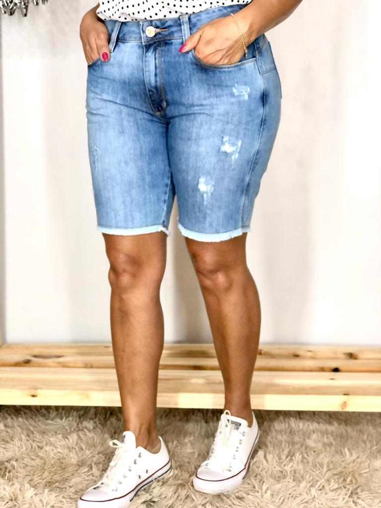 Bermuda Feminina Jeans Ciclista Lavagem Clara Estrogênio