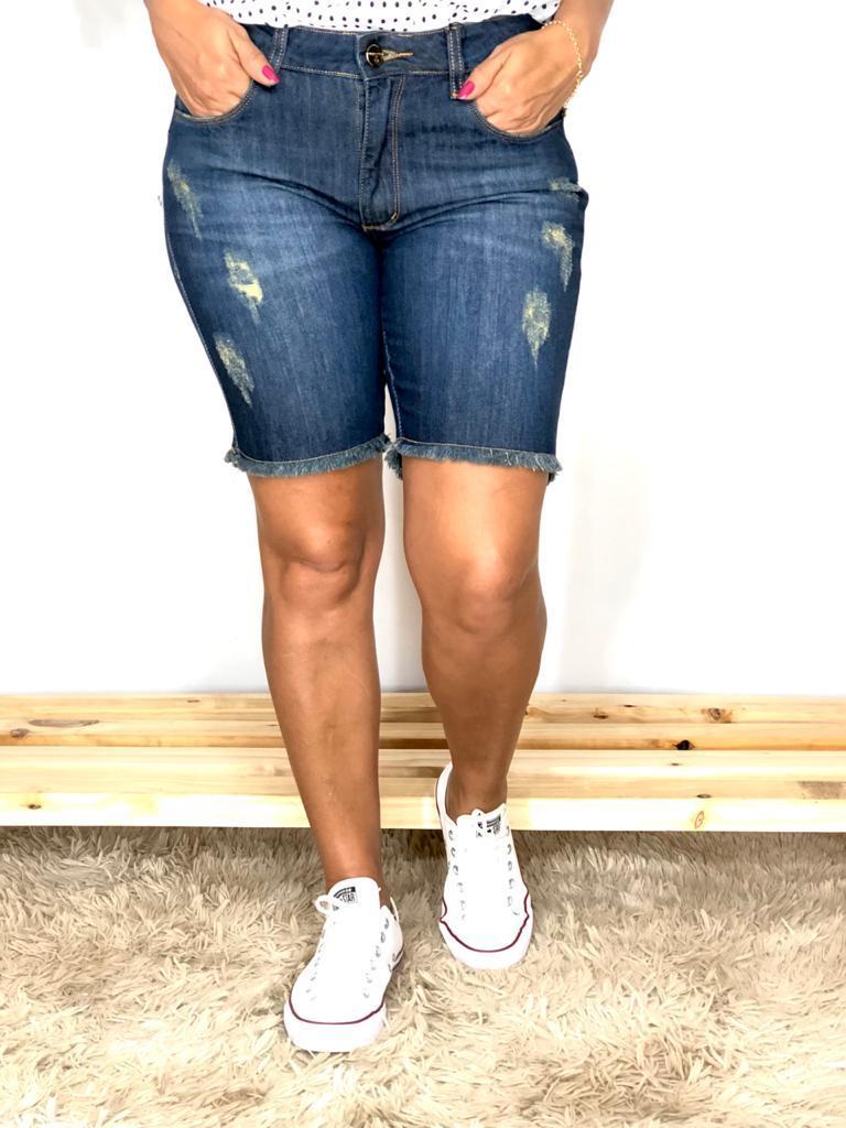 Bermuda Feminina Jeans Ciclista Lavagem Escura Estrogênio