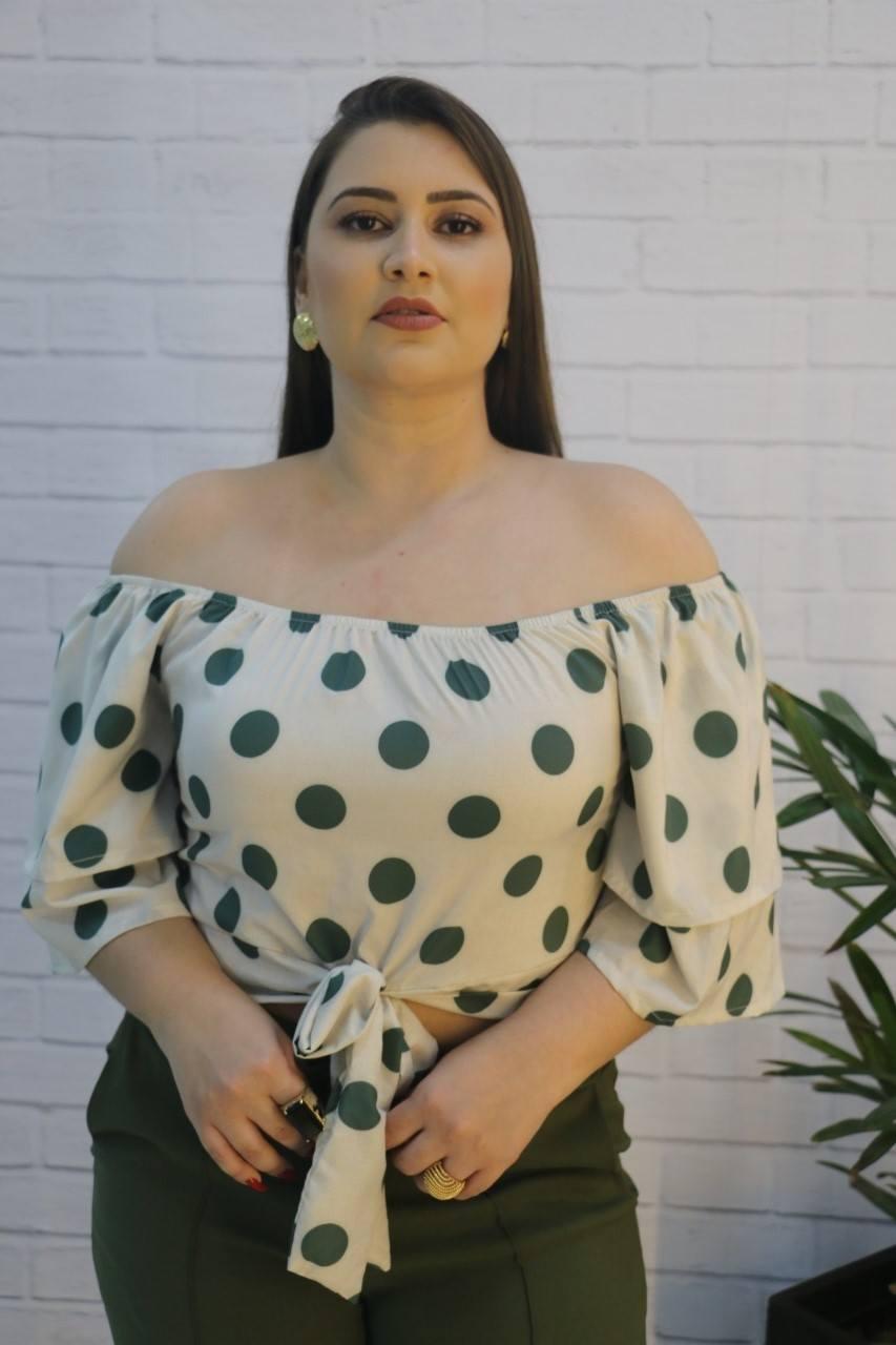 Blusa Cropped  Bengaline Crepe com Elastano Poá Bella Jack
