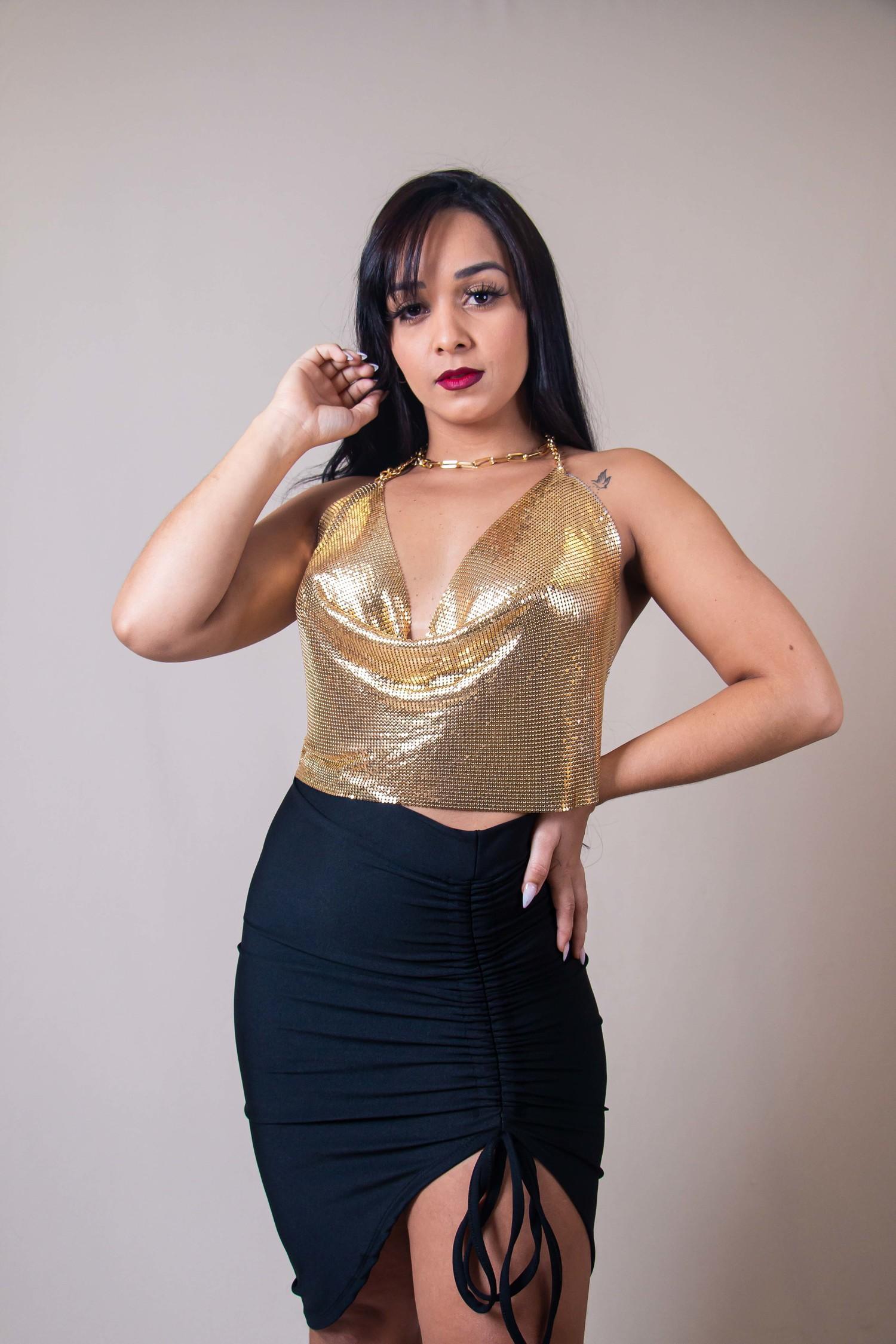 Blusa Cropped Laminado Dourado Kallyman Conceito Modas