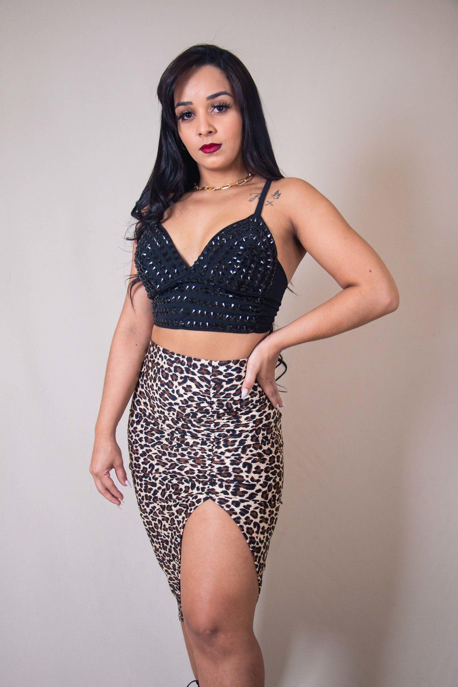 Blusa Cropped Preto Amarração com Pedraria Kallyman Conceito Modas