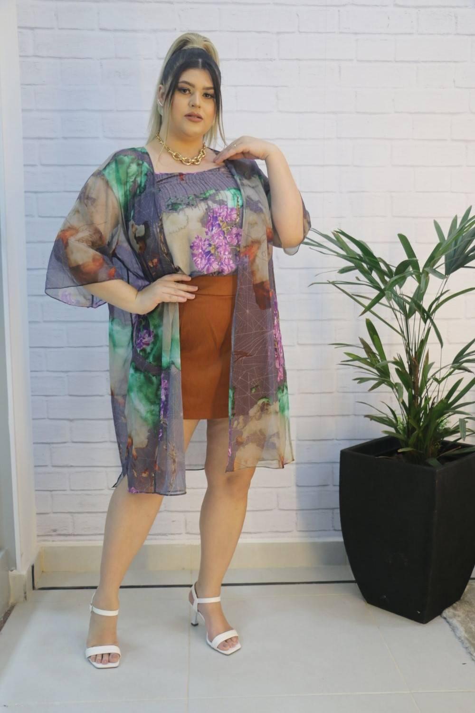 Blusa Regata Crepe Texturizado + Kimono Chiffon Amarelo Mix