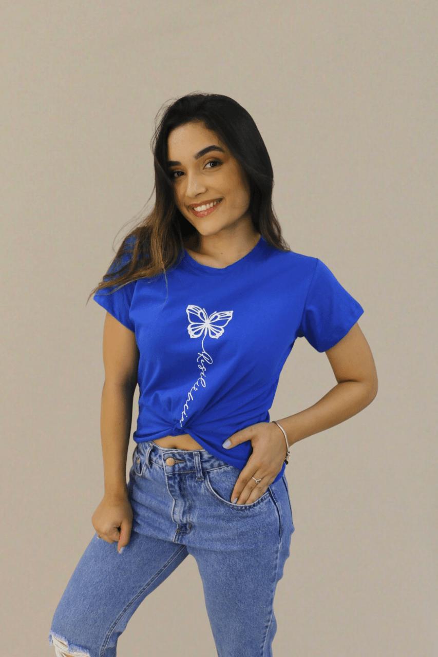 Blusa T-Shirt Azul Estampa Resiliência Soberanika