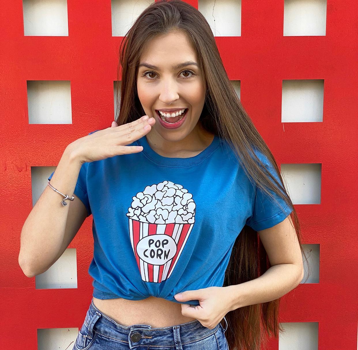 Blusa T-Shirt Azul Estampa Popcorn Florê