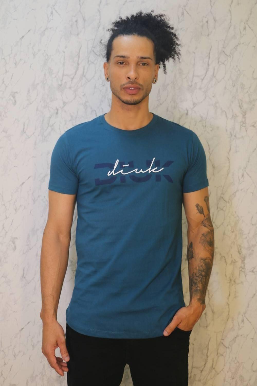 Camiseta Longline Azul Estampa Diuk Burguês