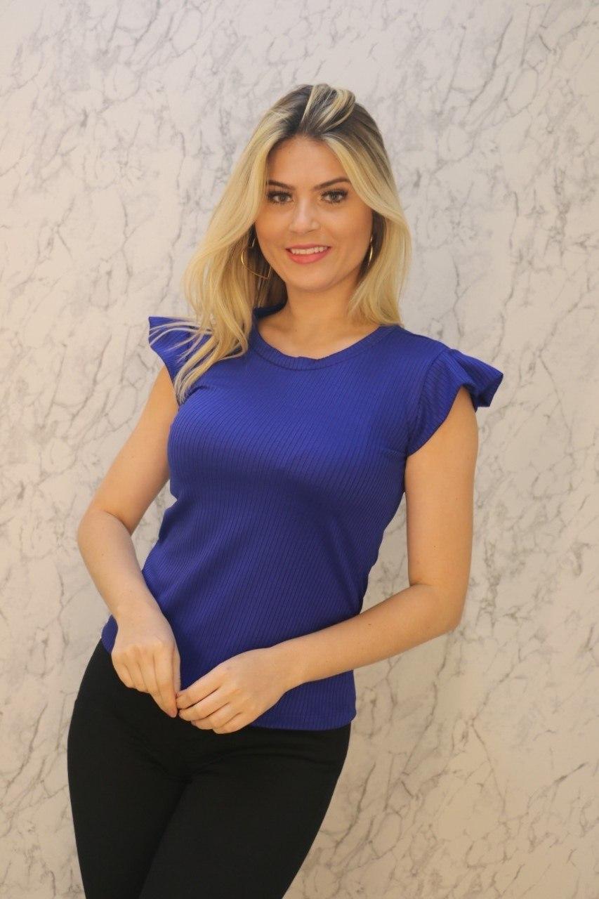 Blusa T-Shirt Azul Royal Canelado Rarêrê
