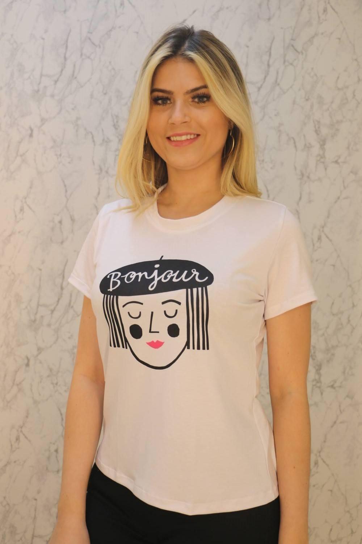 Blusa T-Shirt Branca Estampa Bonjour Poliéster Maria Rosê