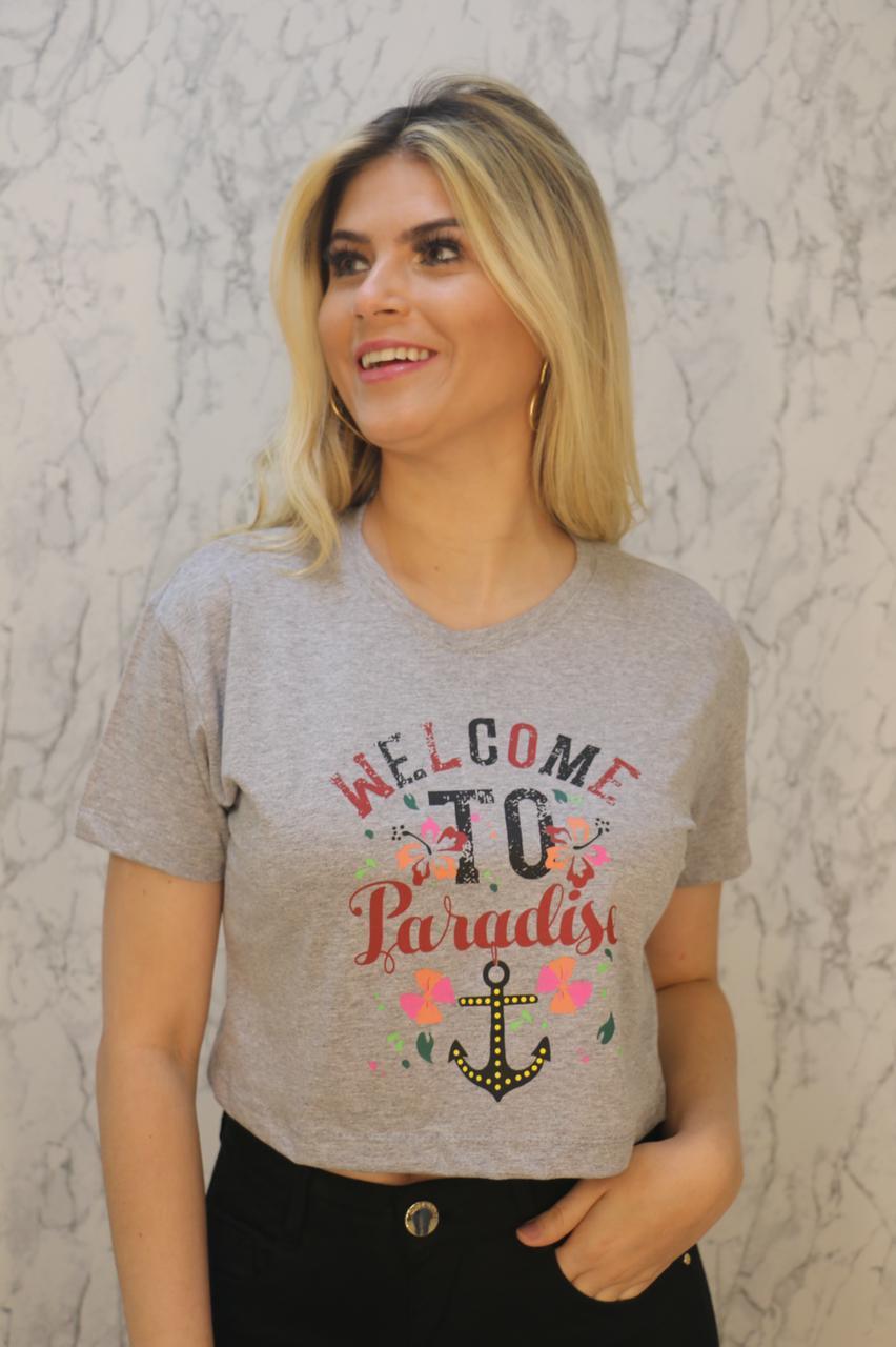Blusa T-shirt Cropped Mescla Estampa Welcome to Paradise Soberânika
