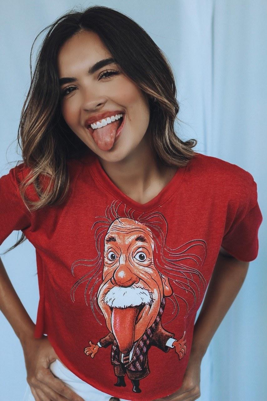Blusa T-Shirt Cropped Vermelho Mescla Estampa Einstein Soberanika