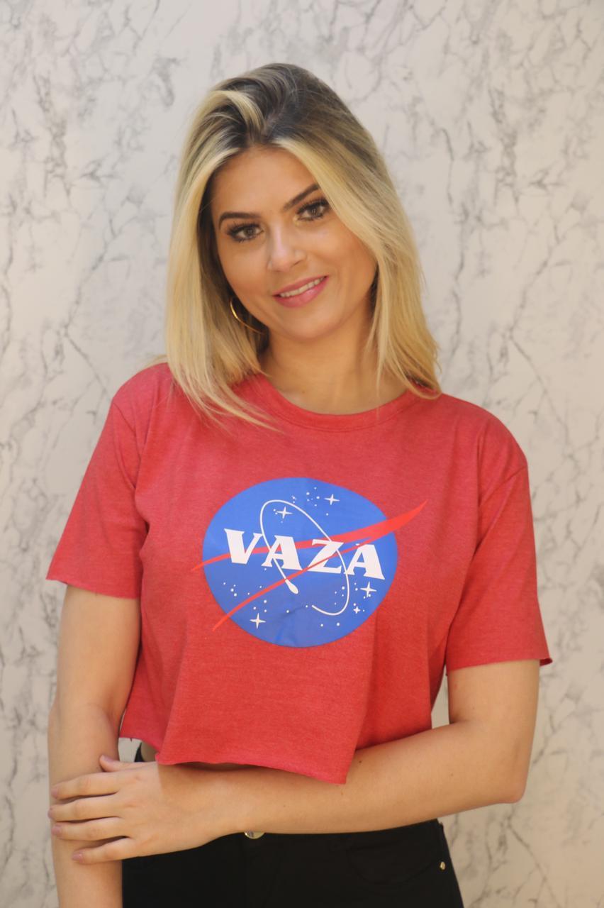 Blusa T-Shirt Cropped Vermelho Mescla Estampa Soberânika