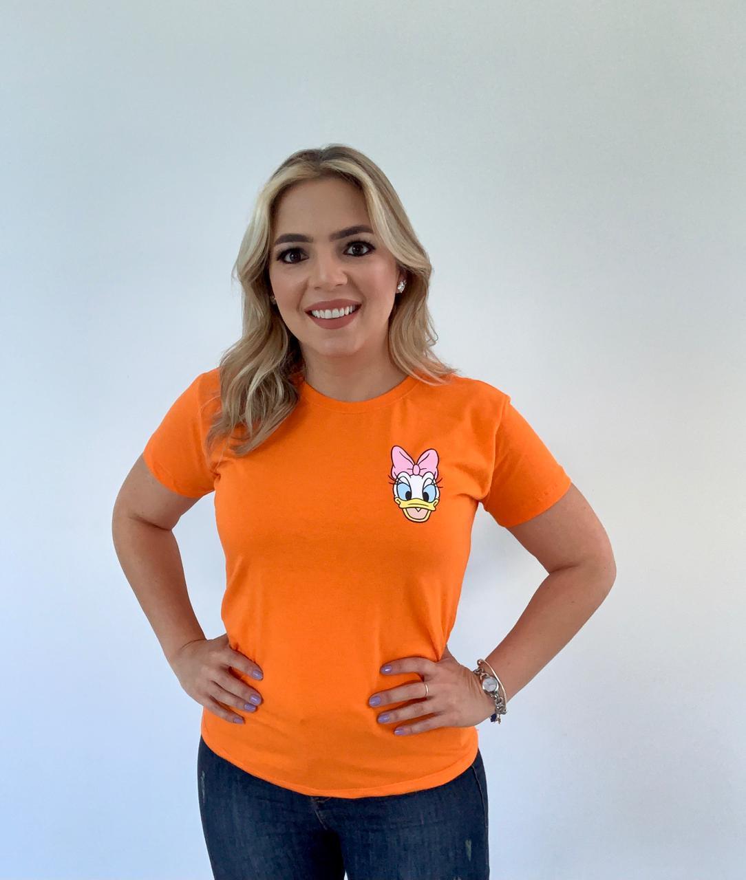 Blusa T-Shirt Laranja Estampa Daisy Duck Phelps