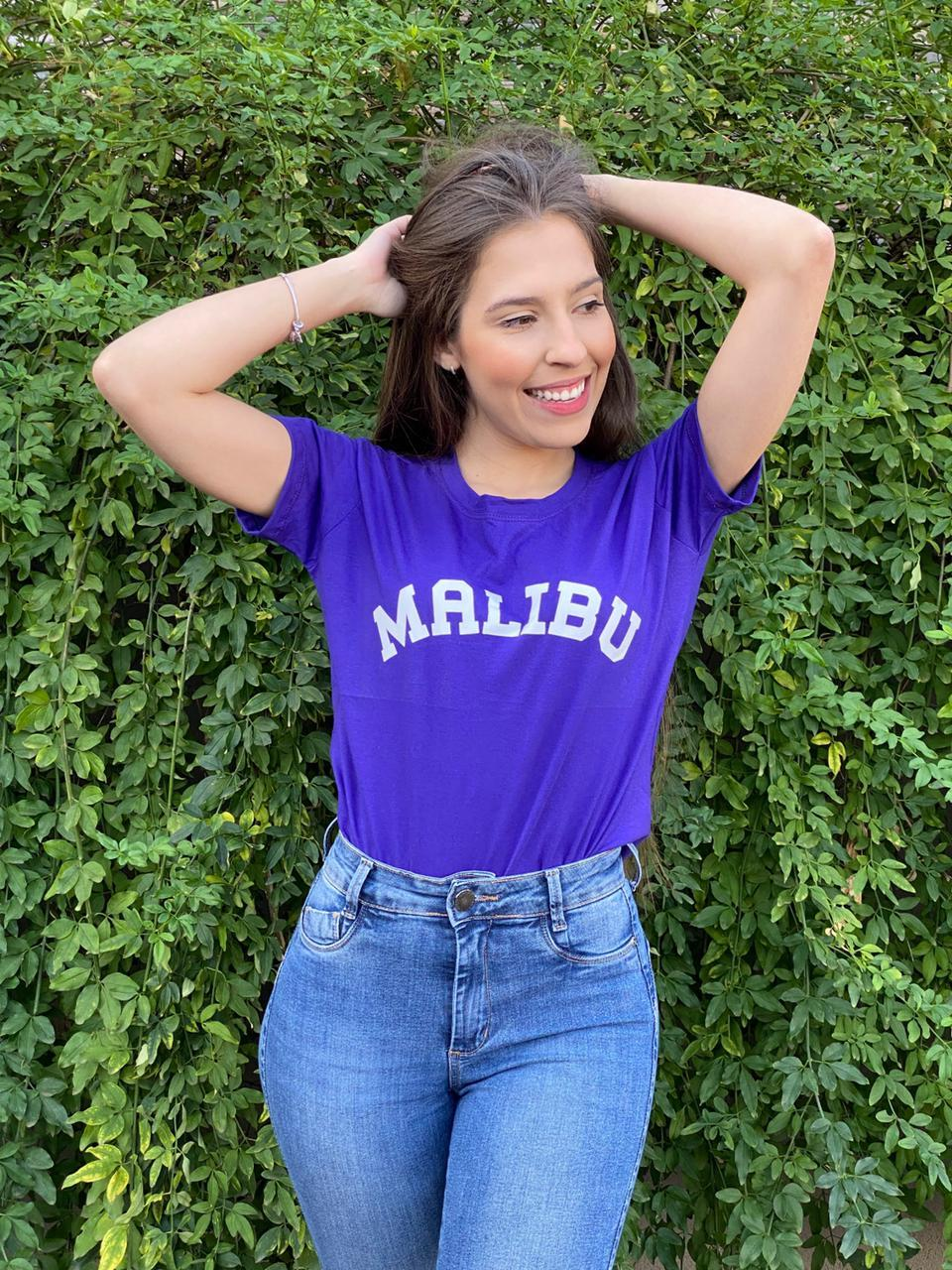 Blusa T-Shirt Roxa Estampa Malibu Florê