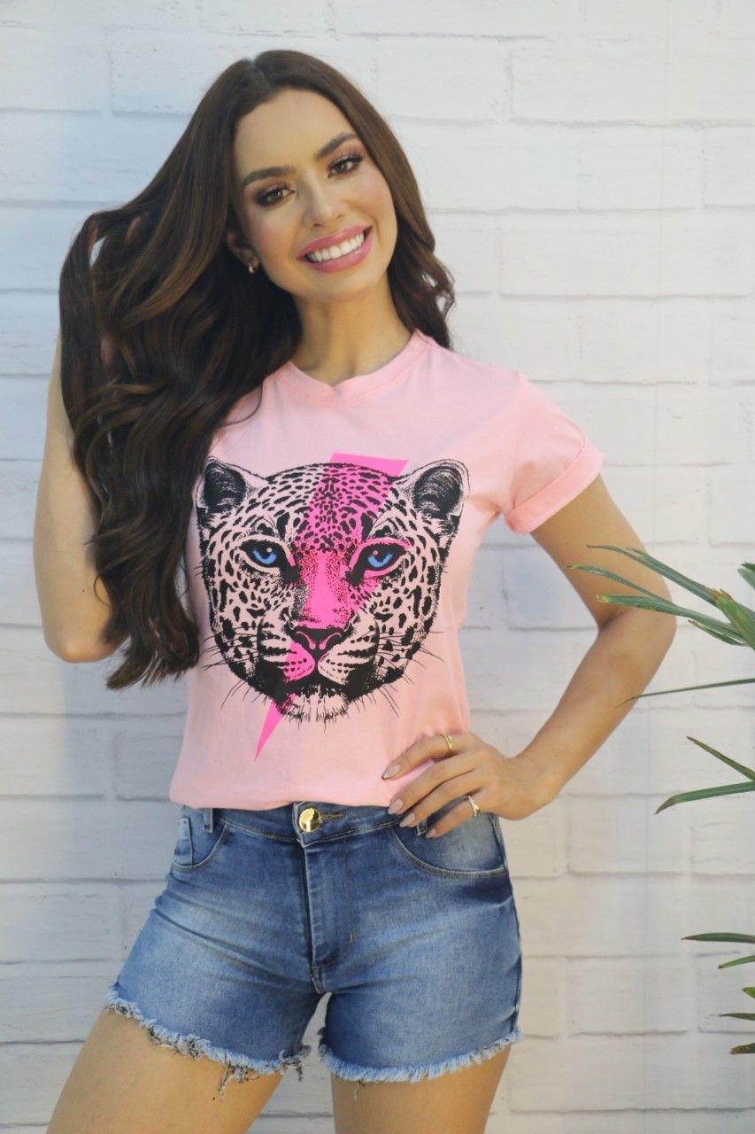 Blusa T-shirt Tigre Manga Rosa Bebê Donna Chick