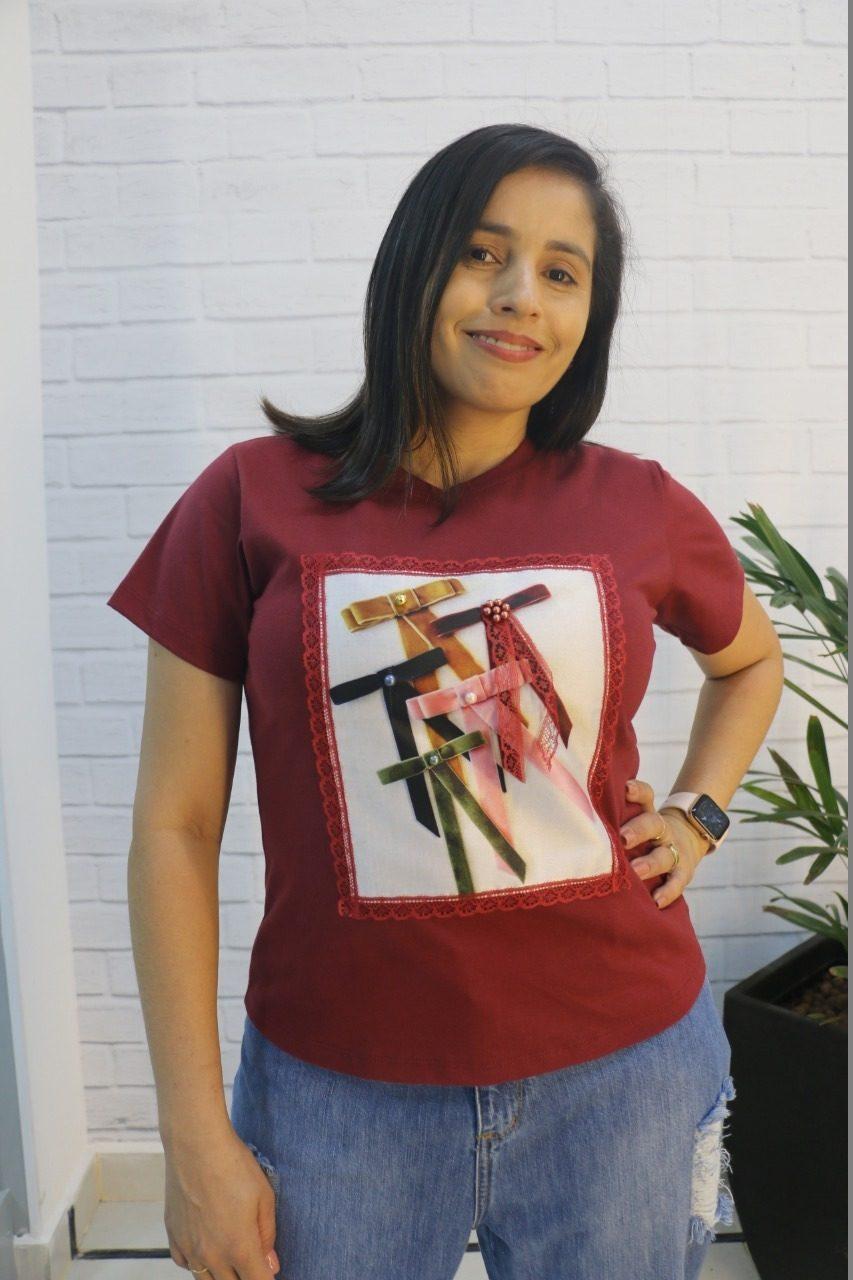 Blusa T-shirt Vinho Estampada Malha 100% Algodão Begônia Mix