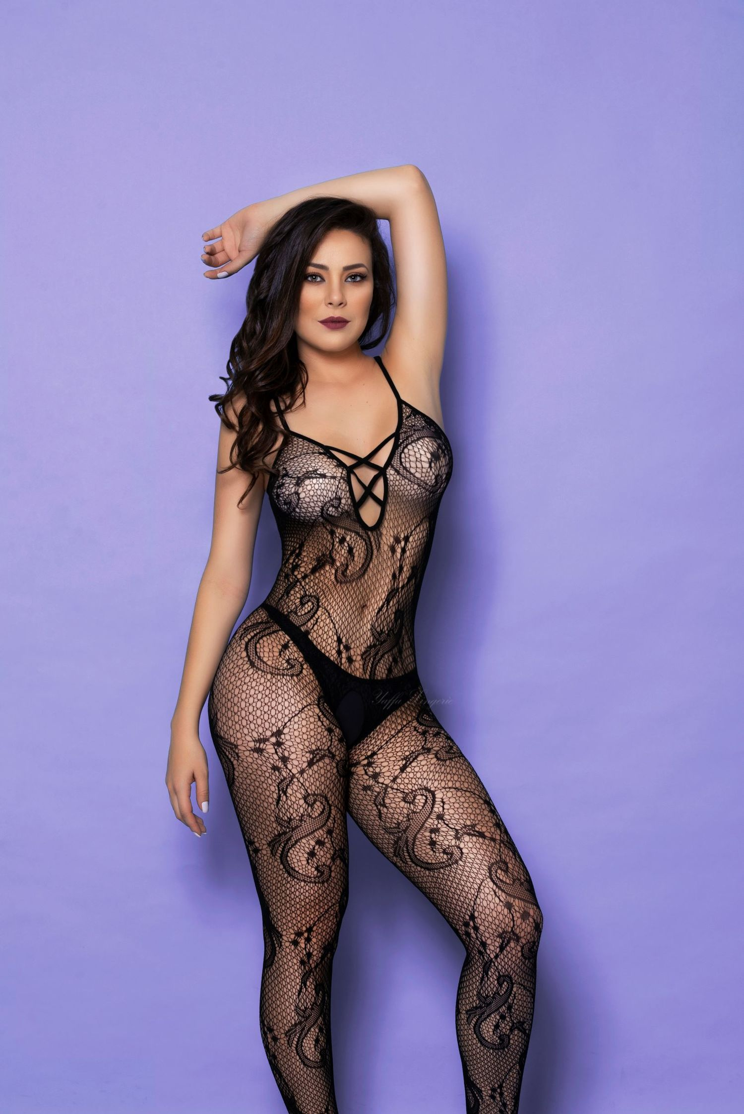 Body Inteiro Arrastão Strappy Rendado Yaffa - Y3701