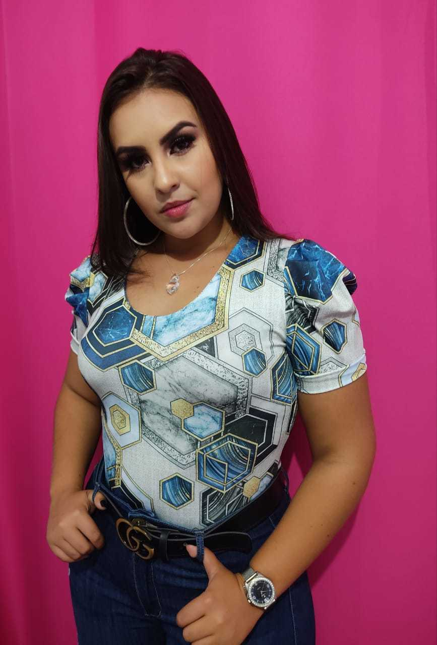 Body Plus Size Moscou Estampado com Azul Suplex Rarêrê