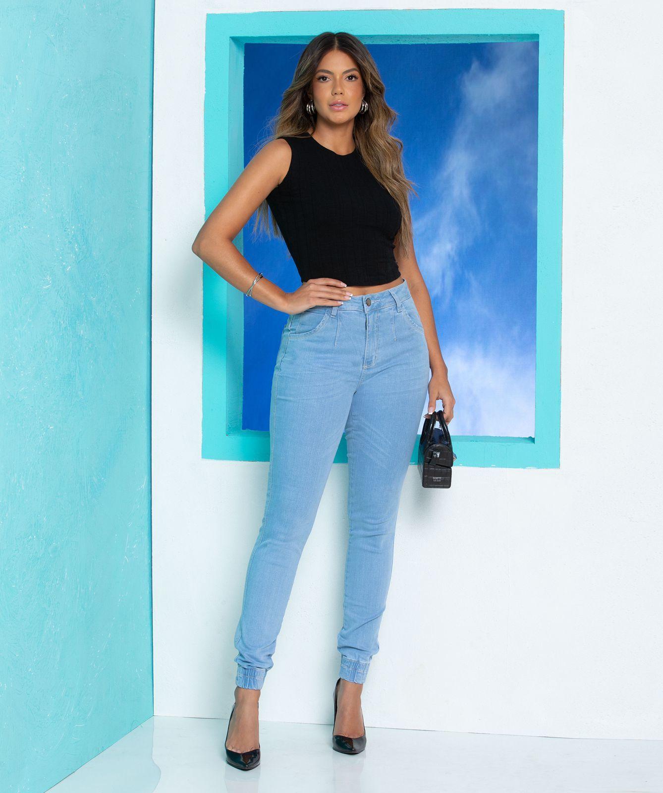 Calça Jeans Feminina Jogger Alana Lizzy