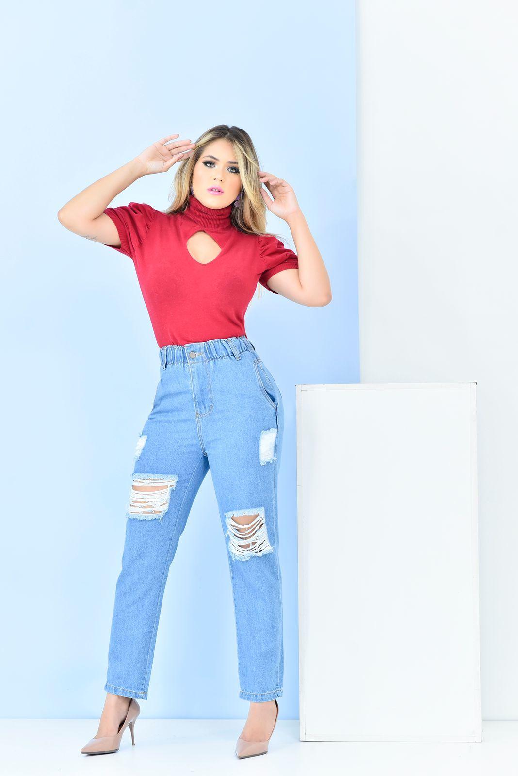Calça Jeans Feminina Mom Clara Melissa Lizzy