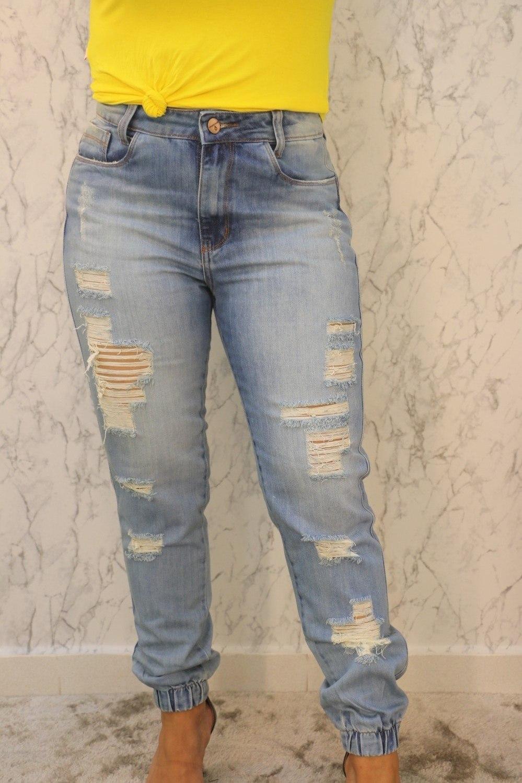 Calça Jeans Jogger Destroyed