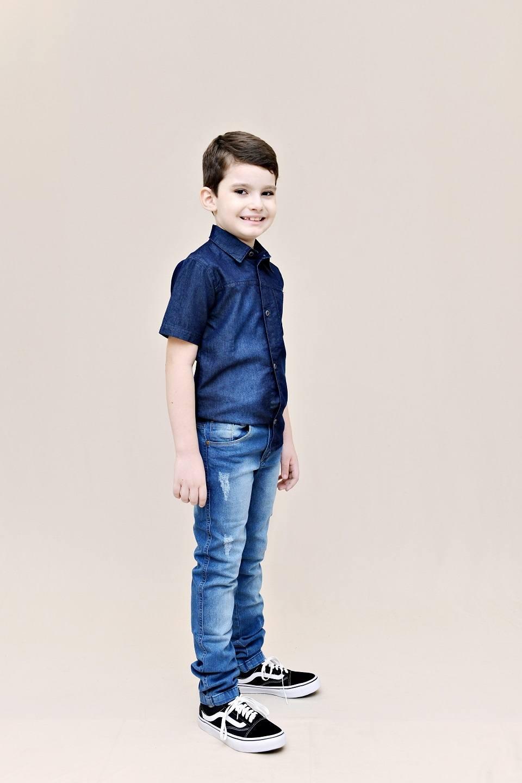 Calça Jeans Infantil - Masculina - Slim com puídos - Pimbolim.