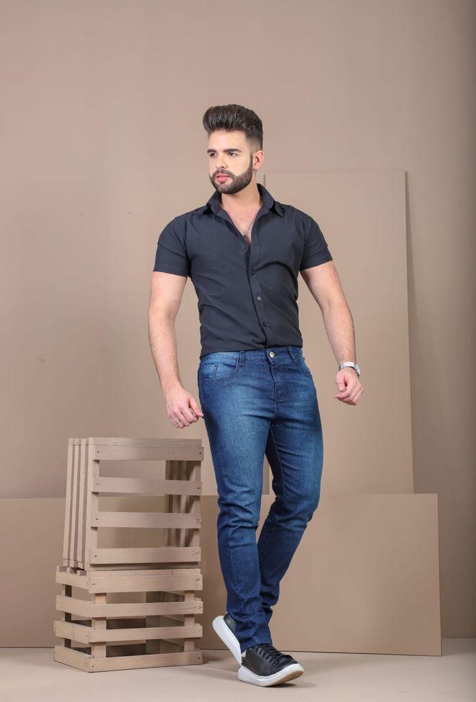 Calça Masculina Tradicional Jeans Lixada West South