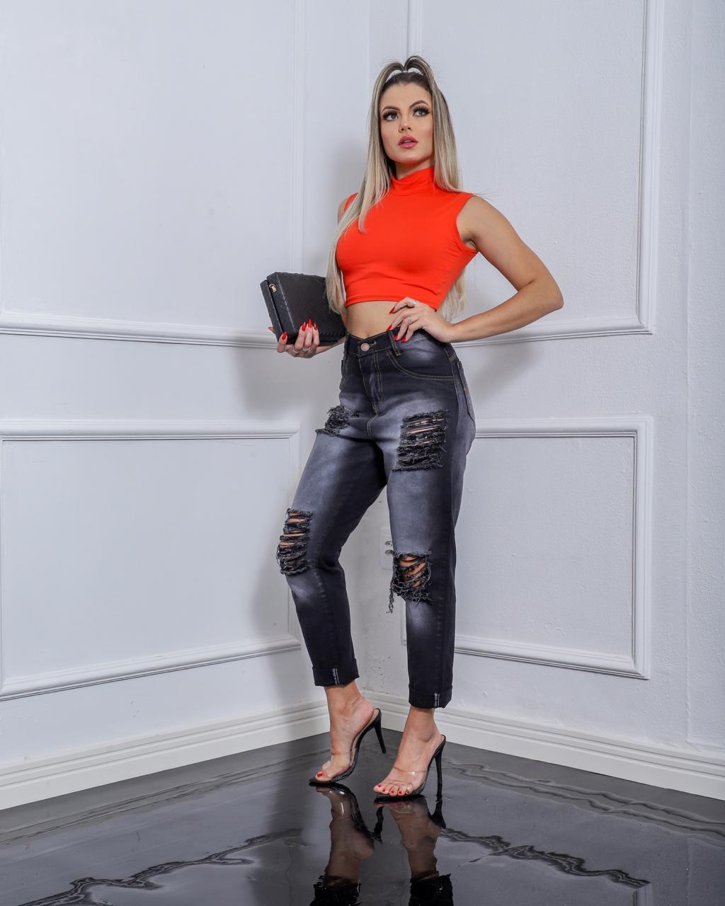 CALÇA MOM PRETA - West South Jeans