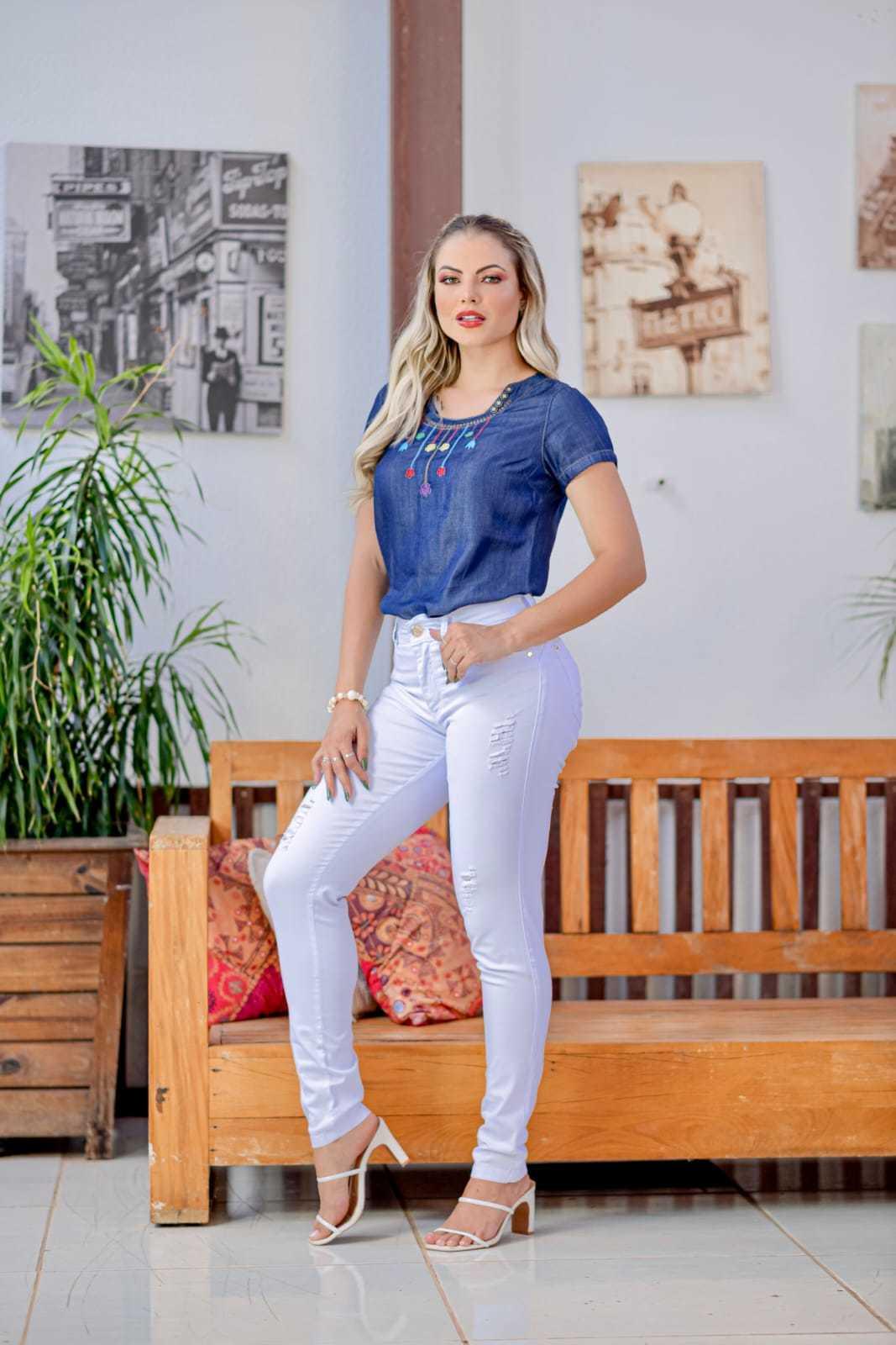 Calça Skinny Básica Branca com Elastano Omni Vinci