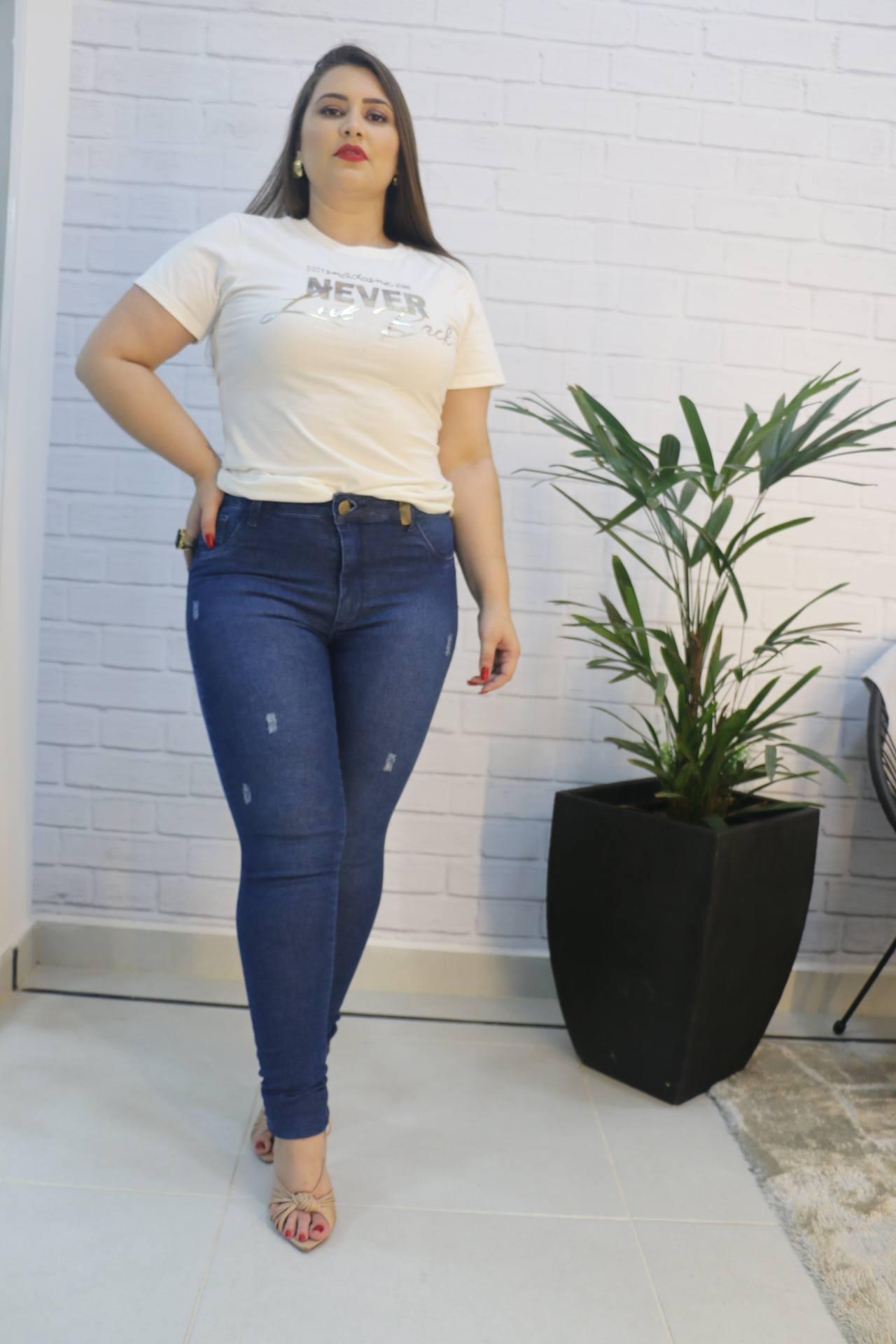 Calça Skinny Jeans com Elastano Doce Madame