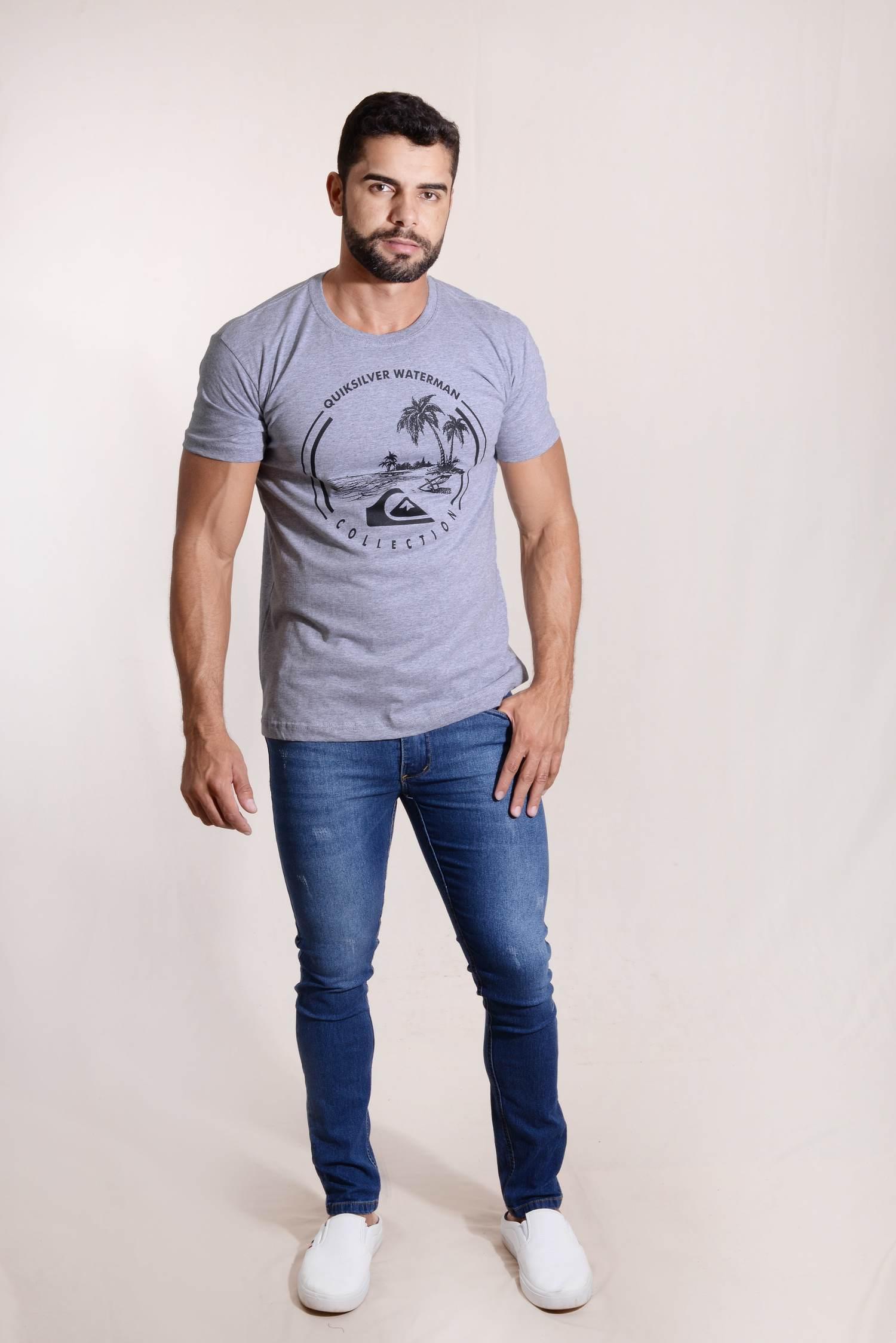 Calça Skinny Jeans Elastano Detalhe Puído KLX West South