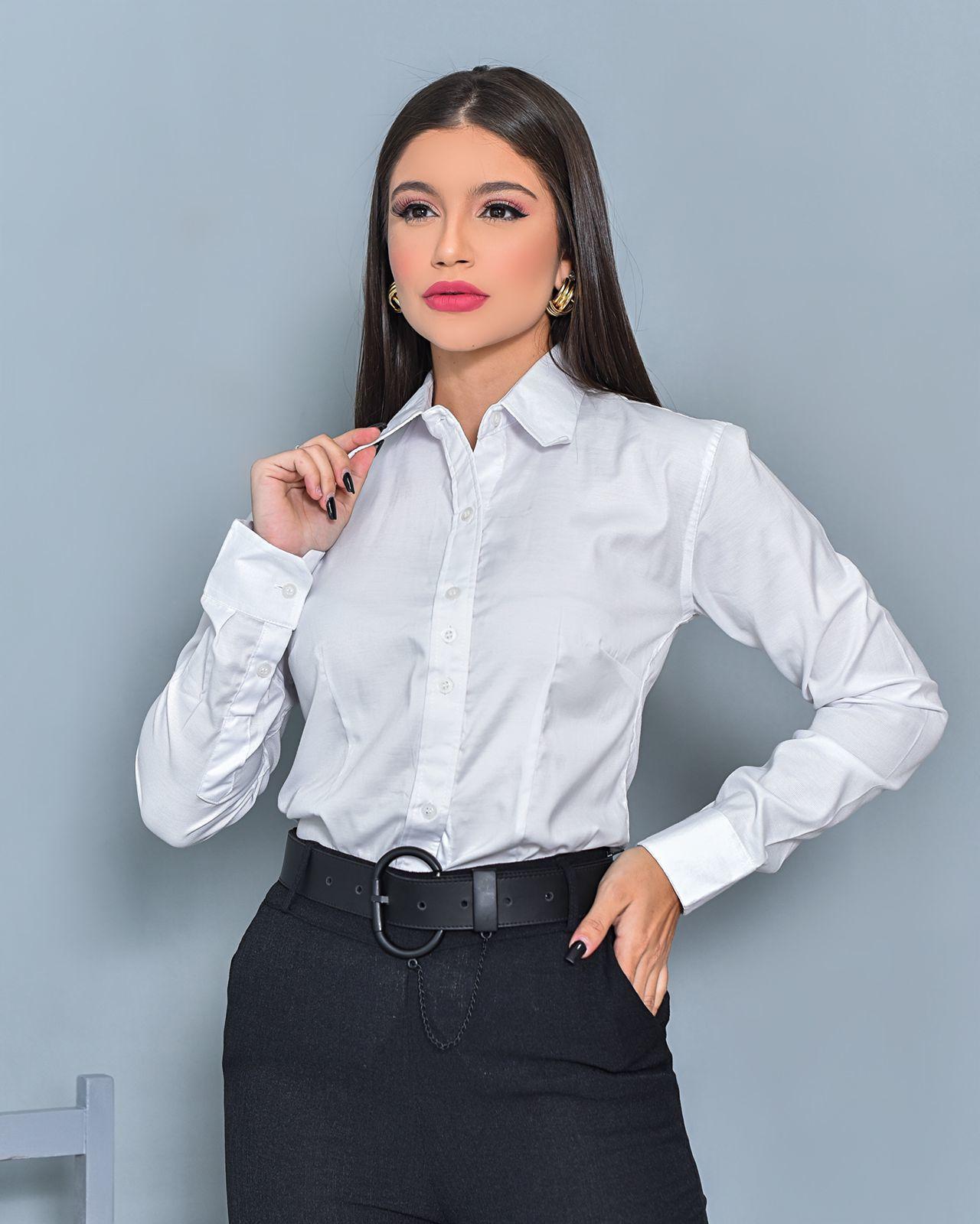 Camisa Feminina Branca com Botões Bem Bella